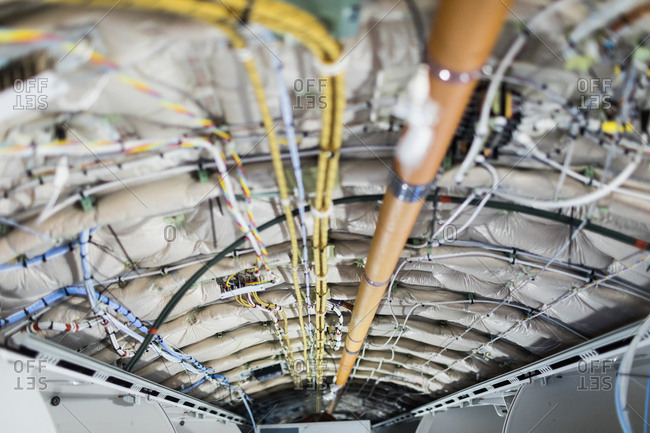 Interior structure of an aircraft under maintenance at airlines maintenance facility