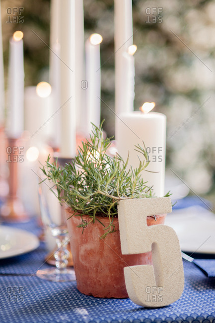 Table decorated with number, potted plant, and taper candles