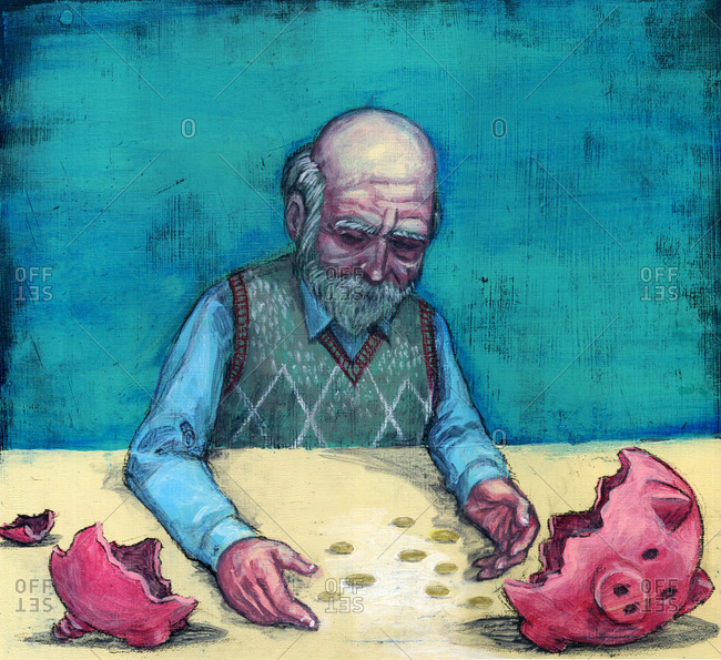 Elderly man with broken piggy bank, illustration