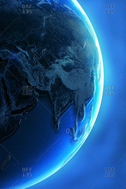 Glowing earth over blue background, illustration
