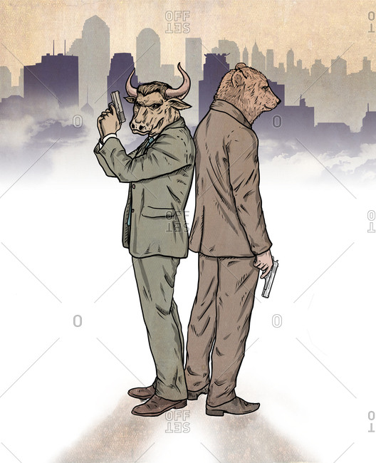 Illustration of bear and bull standing back to back