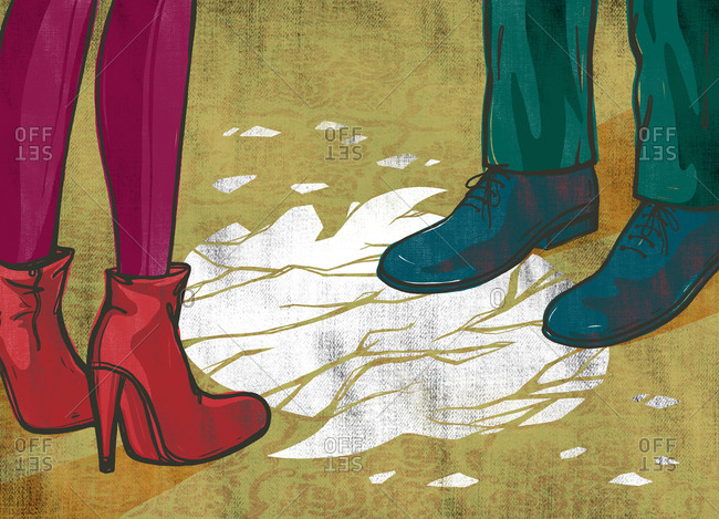Illustration of couple standing on cracked floor
