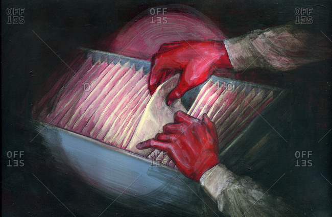 Illustration of red handed thief stealing document