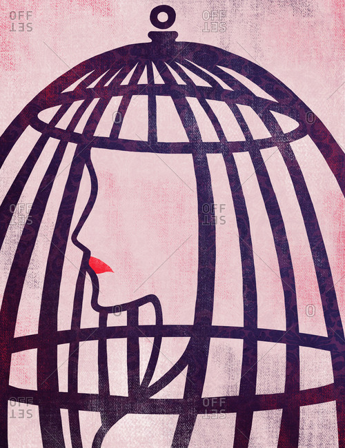 Illustration of woman in cage