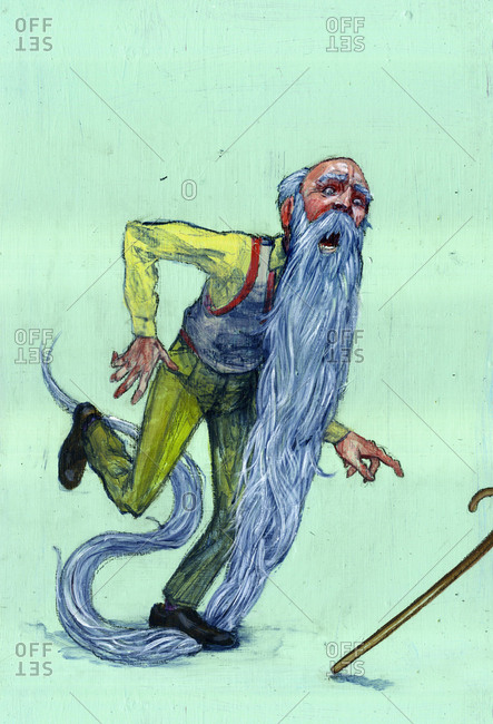 Illustration of senior man about to fall