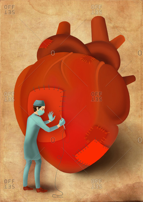 Male surgeon stitching heart, illustration