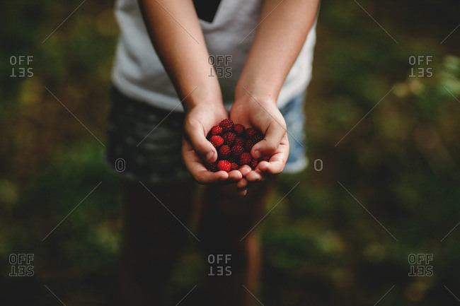 Girl with a handful of berries