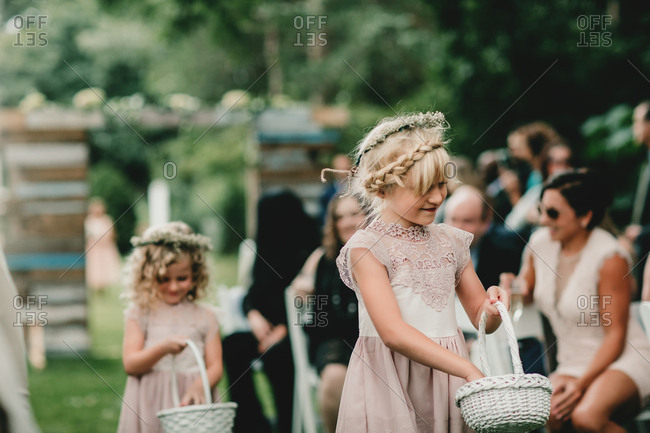 Flower girl at outdoor wedding
