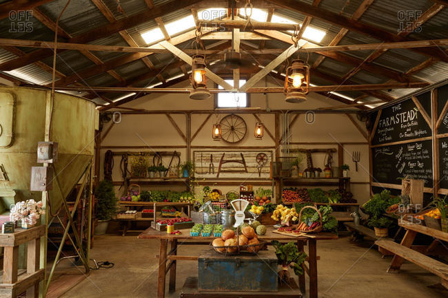 Santa Ynez, California - April 26, 2016: Interior of a farmstead market