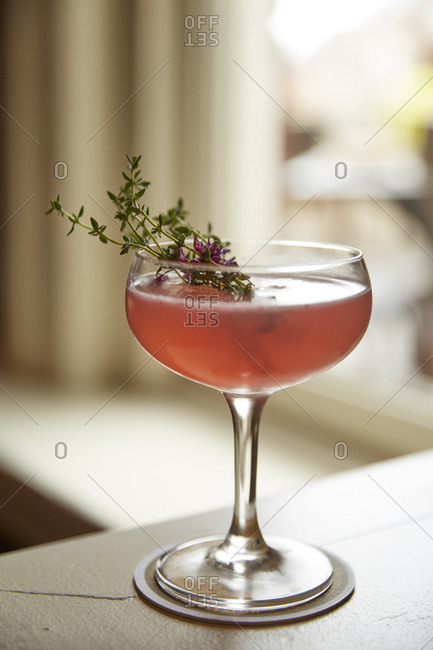 Cocktail with rosemary sprig