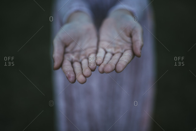 Child's open hands in close up