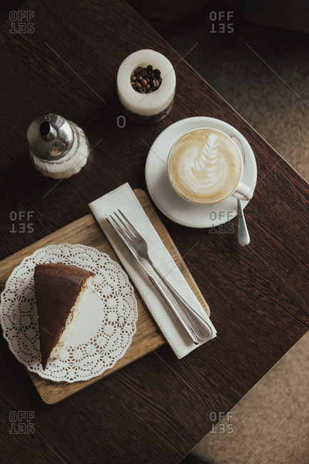 Slice of cake with coffee
