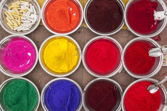 Colors seller at market
