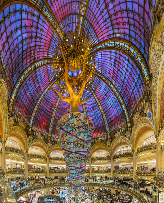 Paris, Ile-de-France, France - November 13, 2014: Galeries Lafayette
