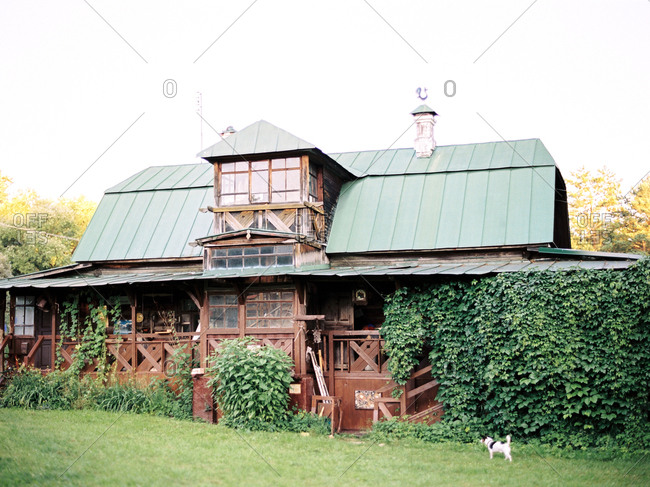 Large country home with dog in the yard