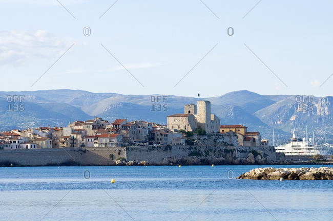 View of the town of Juan les Pins, France on the Mediterranean Sea