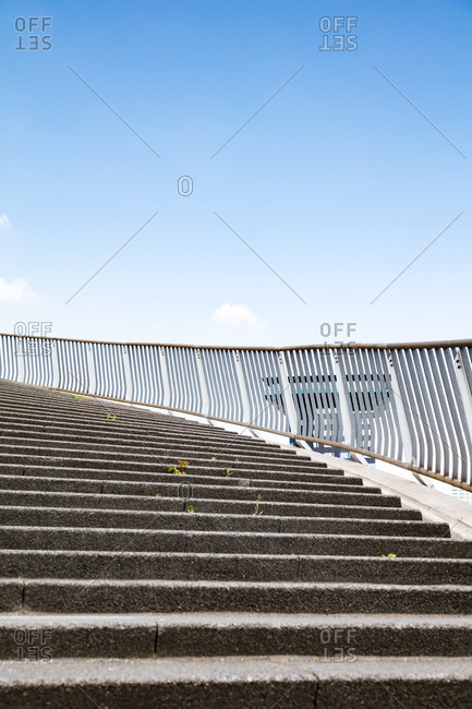 A curving urban stairway