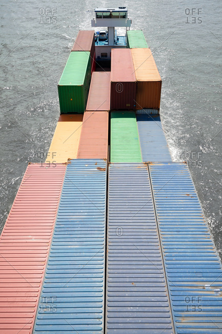Cargo containers on a supply vessel