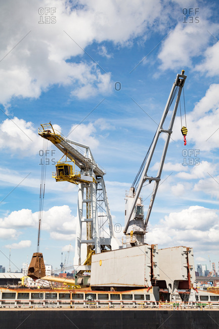 Cranes and freight on a dry dock