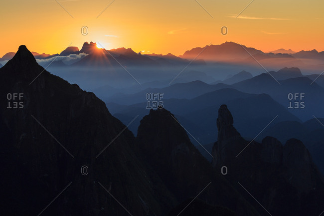 Sunrise over the great granite towers in the Brazilian mountains