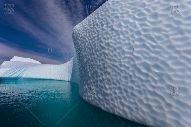 Textured surface of an iceberg in Antarctica