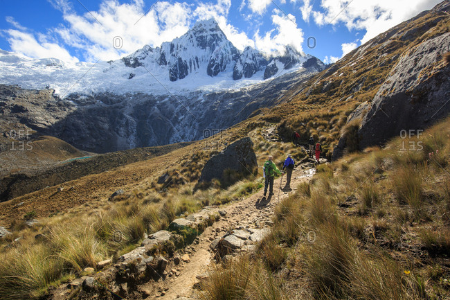 A group of mountaineers trekking at Cordillera Blanca in Huascaran National Park