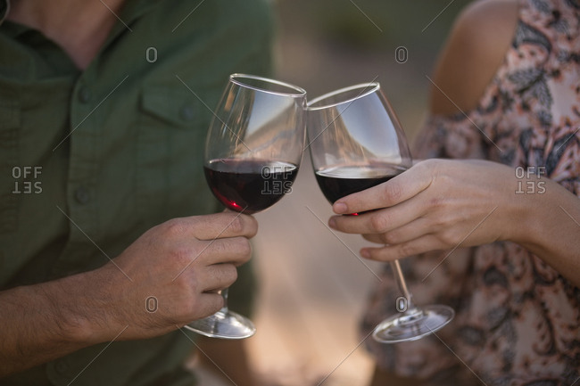 Mid-section of couple toasting glasses of wine during safari vacation