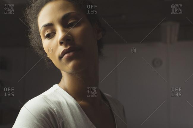 Close-up of female model posing in studio