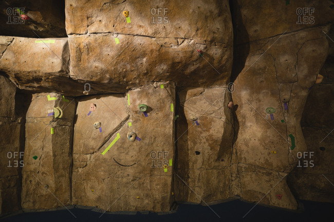 Full frame shot of climbing wall at fitness club