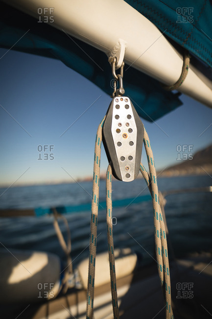 Close-up of pulley on the boat