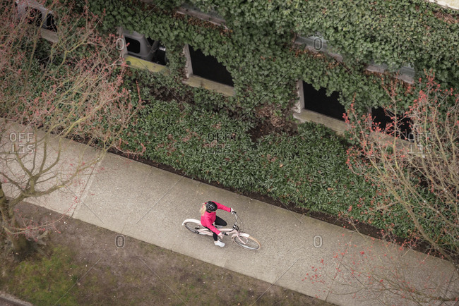 Woman cycling in the pathway on a sunny day