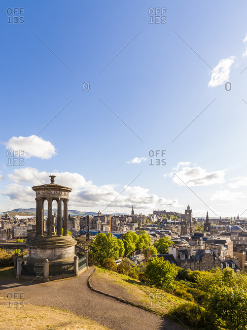 UK- Scotland- Edinburgh- Calton Hill- Dugald Stewart Monument- cityscape