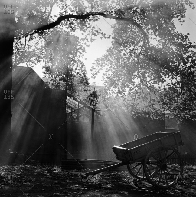London, England, UK - CIRCA 1900: Diffused light filtering down onto an empty cart standing in front of silhouetted buildings, a lamp post and a mature tree