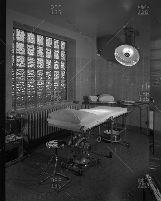 Petoskey, MI, USA - September 27, 1939: Operating rooms highlight the modern, stainless-steel appointments and expansive windows of textured glass block that provide natural light at Little Traverse Hospital