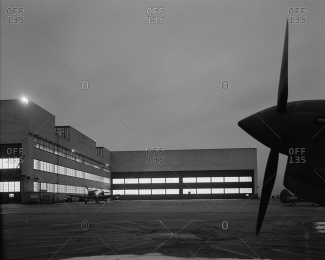 Buffalo, NY, USA - April 17, 1942: Curtiss-Wright aeronautical plant in Buffalo