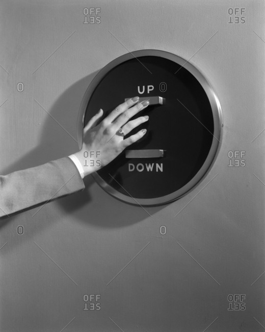 Washington, DC, USA - May 17, 1943: Up/Down elevator button in the Statler Hotel