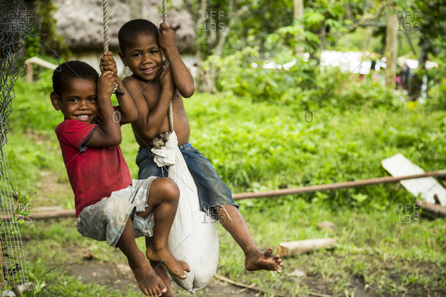 September 12, 2017: Local Kids Playing With The Rope In Fiji