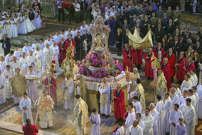 May 29, 2015: The Procession Is Led By The Bishop Of La Laguna, Diocesan Clergy, Parishes And Brotherhoods From Archpriest, Mayor And Council Of La Orotava, Members Of The Island Council, Civil And Military Authorities, Homecoming Queen And The Municipal Band, Spain