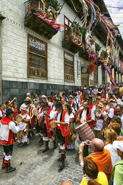 May 29, 2015: People Wearing Traditional Dress Singing During Corpus Christi Celebration At La Orotava, Tenerife, Spain