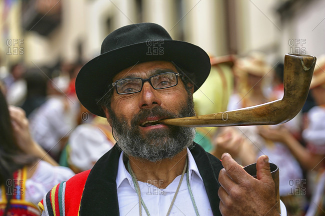 May 29, 2015: Portrait Of Man In A Traditional Clothing Smoking Cigar, Santa Cruz De Tenerife City, Spain