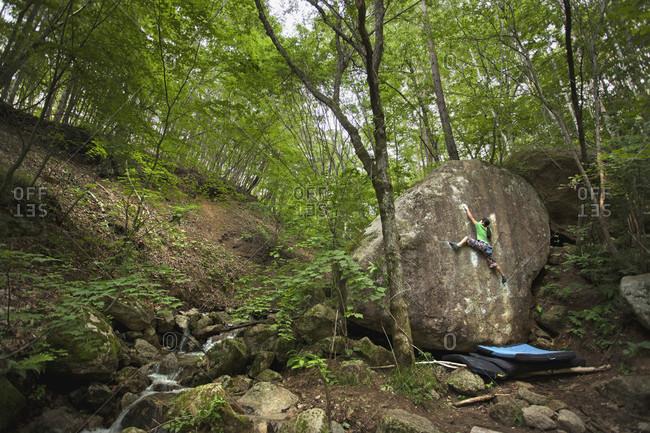 June 26, 2012: Ashman Shiraishi Climbing On Boulder In The Forest Of Yamanashi Prefecture, Japan