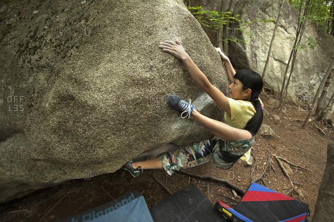 June 27, 2012: Ashman Shiraishi Climbing On Boulder In Yamanashi Prefecture, Japan