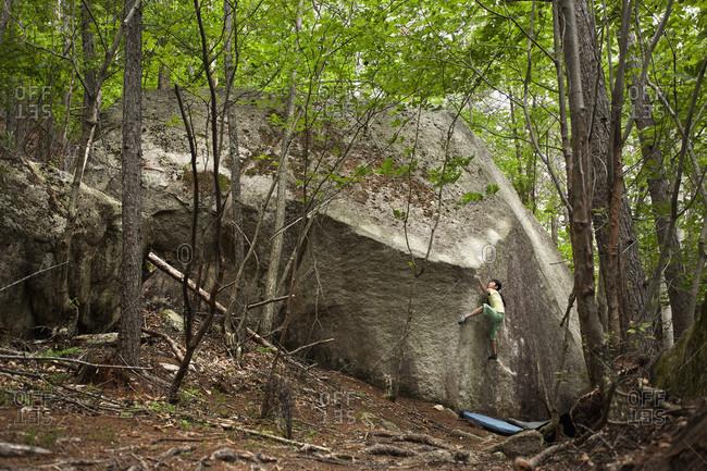 June 28, 2012: Ashman Shiraishi Climbing On Boulder In Forest Of Yamanashi Prefecture, Japan