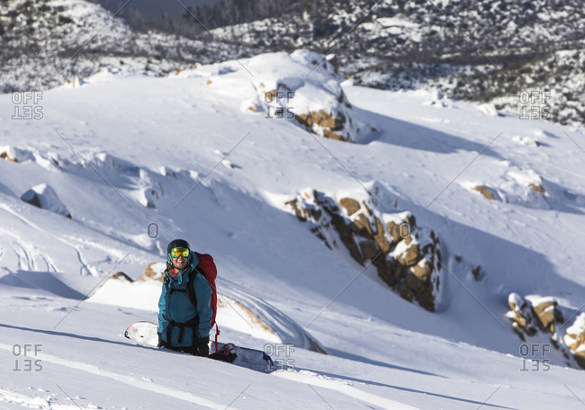August 3, 2015: Portrait Of A Female Snowboarder On Cerro Cathedral In Argentina