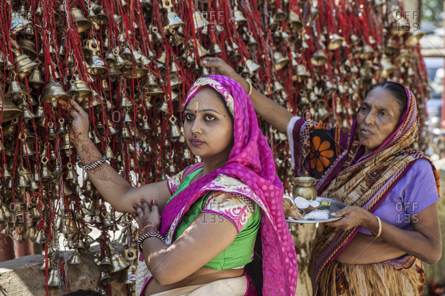 October 23, 2016: Devotees Hanging Bells As Offering At Tilinga Temple In Assam, India