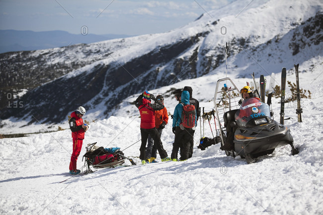 January 3, 2016: A Mountain Rescue Team With Avalanche Dog In Tatra Mountain, Poland