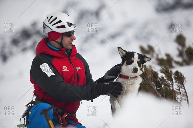 January 3, 2016: A Mountain Rescue Team With Avalanche Dog In Poland