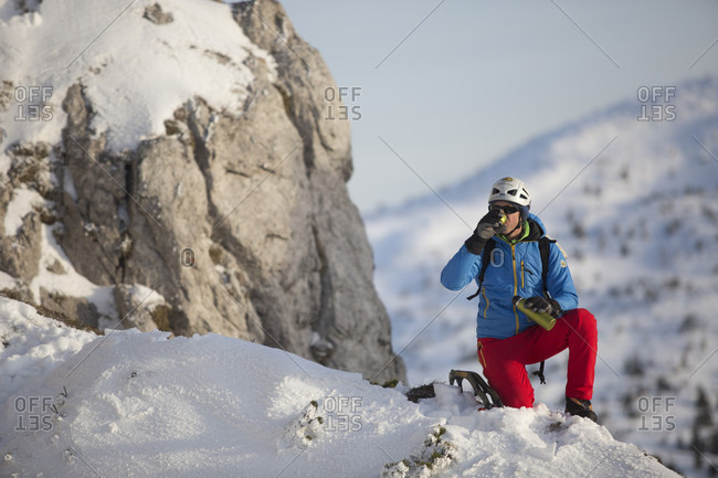 January 12, 2016: A Man Drinking Hot Drink In Mountains Slovakia