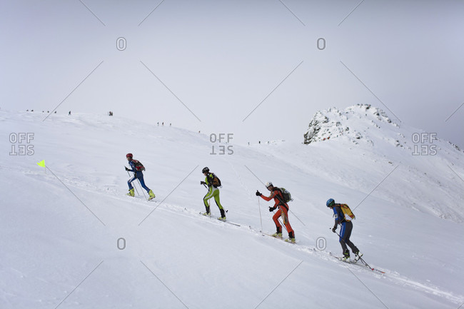 December 27, 2011: Group Of A Ski Alpinists During A Competition In Tatra Mountains National Park, Poland