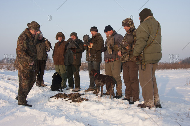 December 18, 2011: Group Of Falconers After Hunting In Poland